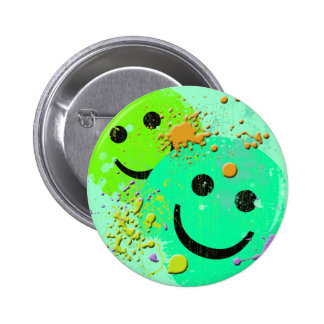 GRUNGE AND PAINT SPLATTER SMILEY'S PINBACK BUTTON