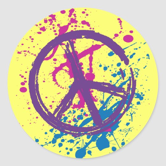 GRUNGE AND SPLATTER PEACE SIGN CLASSIC ROUND STICKER
