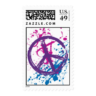 GRUNGE AND SPLATTER PEACE SIGN POSTAGE