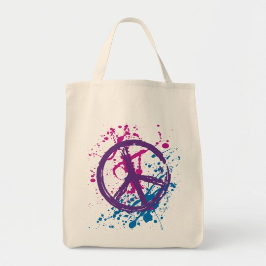 GRUNGE AND SPLATTER PEACE SIGN TOTE BAG