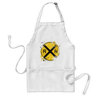 GRUNGE AND SPLATTER RAILROAD CROSSING SIGN ADULT APRON