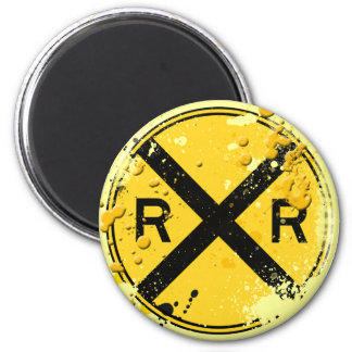 GRUNGE AND SPLATTER RAILROAD CROSSING SIGN MAGNET