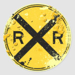 GRUNGE AND SPLATTER RAILROAD CROSSING SIGN STICKER