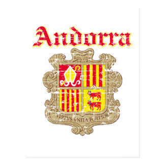 Grunge Andorra coat of arms designs Postcard