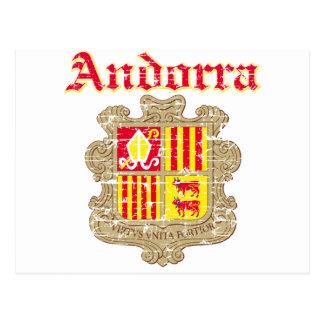 Grunge Andorra coat of arms designs Postcard