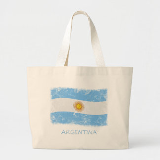 Grunge Argentina Flag Canvas Bags