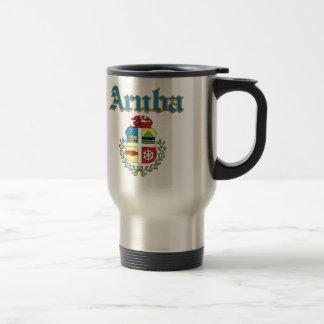 Grunge Aruban coat of arms designs Travel Mug
