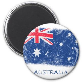 Grunge Australia Flag 2 Inch Round Magnet