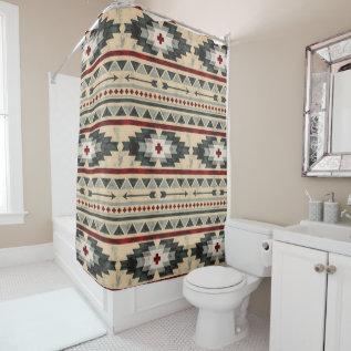 Grunge Aztec Tribal Pattern Shower Curtain at Zazzle