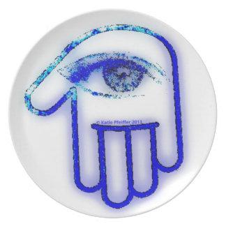 Grunge azul de Hamsa Plato Para Fiesta