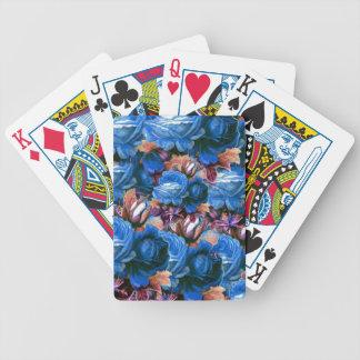 Grunge azul de los rosas del vintage baraja cartas de poker