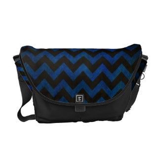 Grunge azul del zigzag bolsas messenger