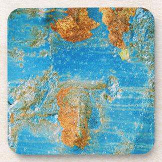 Grunge azul oxidado del acero del metal posavasos de bebida