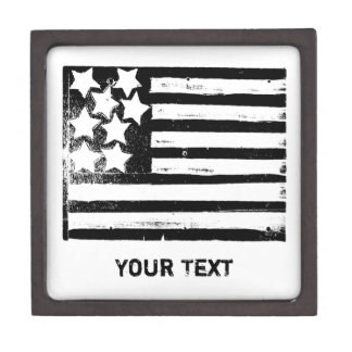 Grunge B&W American Flag Keepsake Box