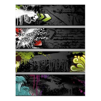 grunge-banners-vector postcard