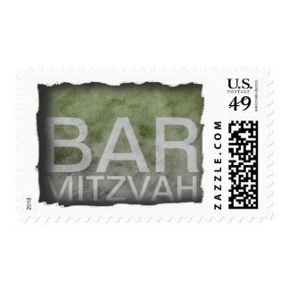 Grunge Bar Mitzvah with Moss Green Gradient Stamps