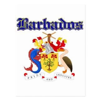 Grunge Barbados coat of arms designs Postcard