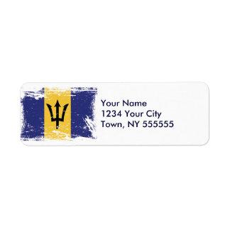 Grunge Barbados Flag Label