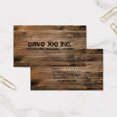 Grunge Barn Wood  Construction Carpentry Business Card at Zazzle
