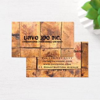 grunge Barn wood texture Construction Carpentry Business Card