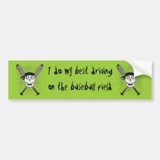 Grunge Baseball Skull 'N Bats Bumper Sticker