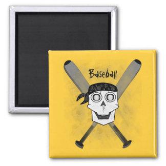 Grunge Baseball Skull 'N Bats Magnet