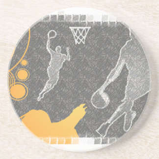 Grunge Basketball Players and Fan Drink Coasters
