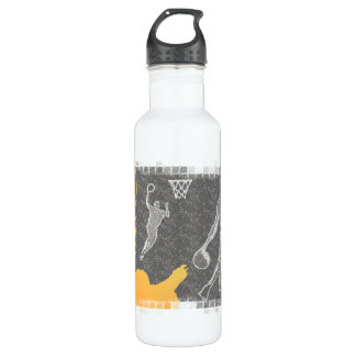 Grunge Basketball Players and Fan Stainless Steel Water Bottle