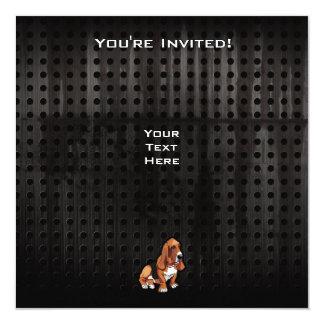 """Grunge Basset Hound Invitación 5.25"""" X 5.25"""""""