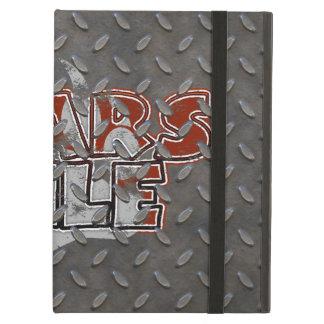 Grunge Bears Rule Bear Paw Diamond Plate Steel Cover For iPad Air