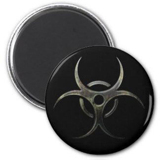 Grunge Biohazard Symbol 2 Inch Round Magnet
