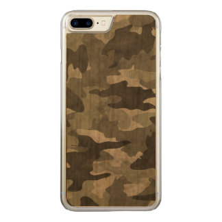 Grunge Black and Gray Camo Camouflage Pattern Wood Carved iPhone 7 Plus Case