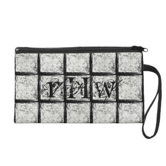 Grunge Black and White Camo Personalized Wristlet