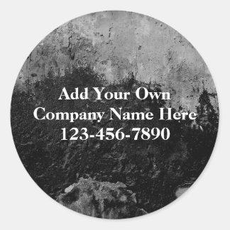 Grunge Black Paint Faux Finish Design Round Sticker