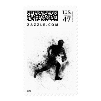 GRUNGE BLACK SPLATTER BASEBALL LOGO DIGITAL ART POSTAGE