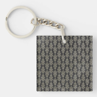 Grunge Black & White Pattern Key Chain
