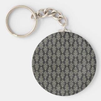 Grunge Black & White Pattern Keychain
