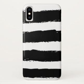 Grunge Black White Stripes iPhone X Case