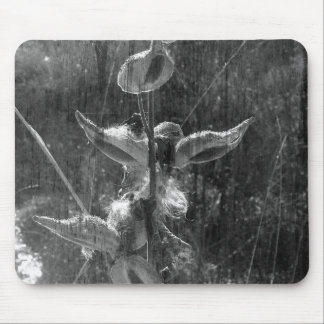 Grunge blanco y negro del Milkweed Tapetes De Raton