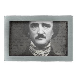 Grunge blanco y negro del Poe Hebilla De Cinturón Rectangular
