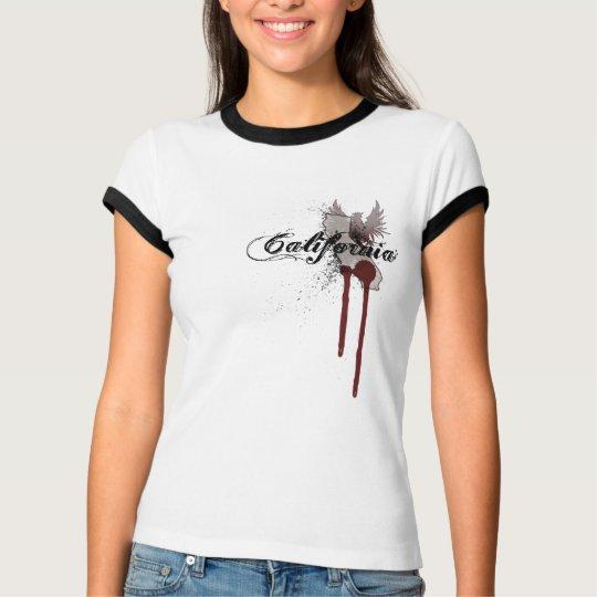 Grunge Blood Splatter California T-Shirt Womens