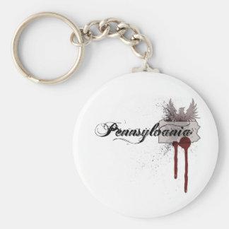 Grunge Blood Splatter Pennsylvania Keychain