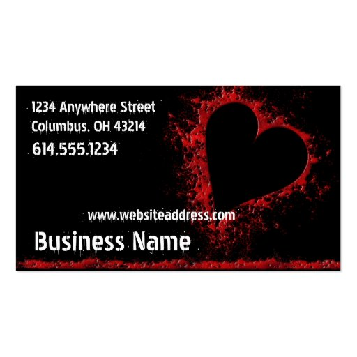 Grunge Bloody Red Heart Design Business Cards