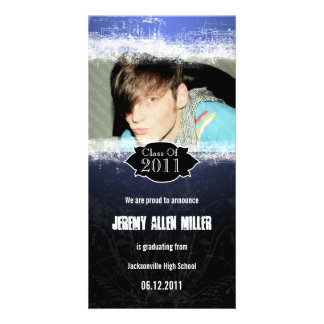 Grunge Blue Black Graduation Photo Card