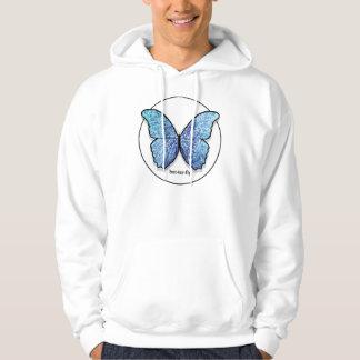 Grunge Blue Butterfly Hoodie