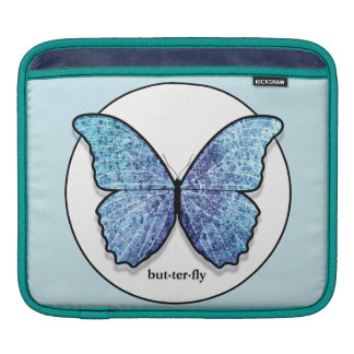Grunge Blue Butterfly iPad Sleeve