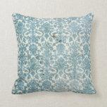 Grunge Blue Damask Wallpaper Pillow