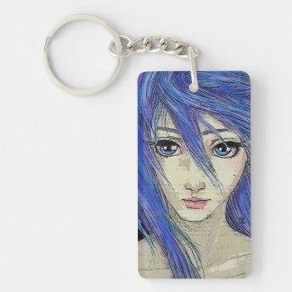 Grunge Blue Eyes Message Single-Sided Rectangular Acrylic Keychain