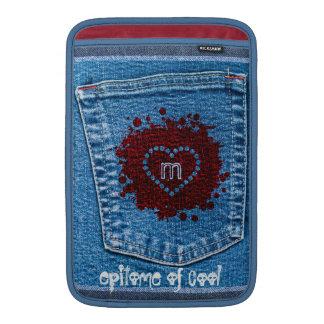 Grunge Blue Jeans Denim Stone Wash Red Cool Heart MacBook Air Sleeve