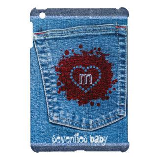 Grunge Blue Jeans Pocket Stone Wash Red Splatter iPad Mini Cases